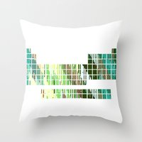 periodic table Throw Pillows featuring Periodic Table, Pixilated Color Blocks by kltj11