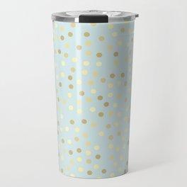 Baby Blue & Gold Polka Dots Travel Mug