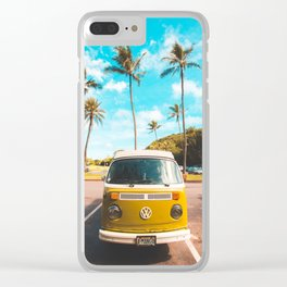 Classic V W Bus at Beach Clear iPhone Case