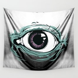 """I See You"" White Pattern Wall Tapestry"