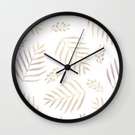 Christmas golden trees pattern in violet Wall Clock