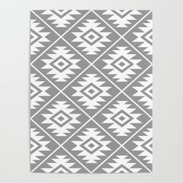 Aztec Symbol Pattern White on Gray Poster