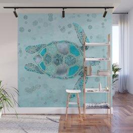 Glamour Aqua Turquoise Turtle Underwater Scenery Wall Mural