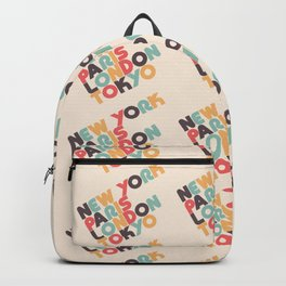 Retro New York Paris London Tokyo Typography Backpack