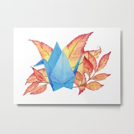 Autumn Origami Paper Crane Metal Print