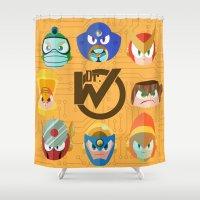 mega man Shower Curtains featuring Mega Man 2 by Jaime Ugarte
