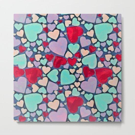 Sweet hearts mosaic pattern Metal Print