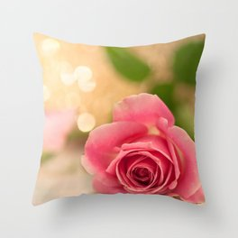 Pink Rose in soft focus Throw Pillow