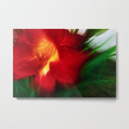 Abstract Red Hibiscus Fire Metal Print