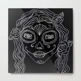 Day of the Dead drawing in black and white Metal Print