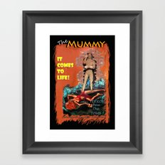 Woman in the red dress meets The Mummy Framed Art Print