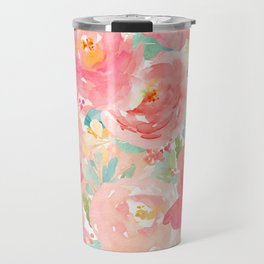 Preppy Pink Peonies Travel Mug