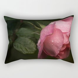 Pink rose. Raindrops on petals. Rectangular Pillow