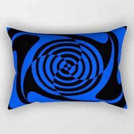 Blue and Black Geometric Swirl Rectangular Pillow
