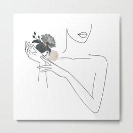 Minimal Line Art Woman with Flowers I Metal Print