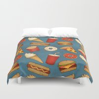 food Duvet Covers featuring Fast Food by Tracie Andrews