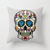 mexican Throw Pillows featuring Mexican Skull by Pancho the Macho