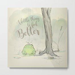 The frog under the rain 2 Metal Print