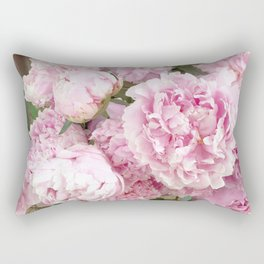 Pink Shabby Chic Peonies - Garden Peony Flowers Wall Prints Home Decor Rectangular Pillow