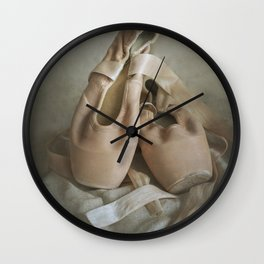 Creamy pointe ballet shoes Wall Clock