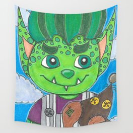 Young Goblin with stuffed dog Wall Tapestry