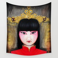 asia Wall Tapestries featuring Asia by Mélanie Arias Art