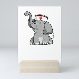 Funny Nurse Elephant International Nurse Day T-Shirt Mini Art Print