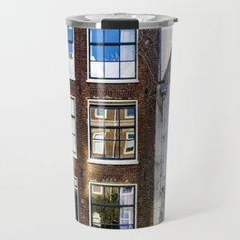 Amsterdam Canal Row Houses with Row Boat Parked in front Travel Mug