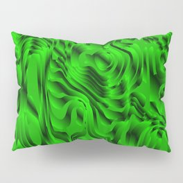 Blurry interweaving of green spots from the bright flowing lava and colored symmetrical blots. Pillow Sham