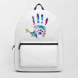 watercolor Hand/Paw Backpack