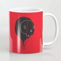 hot air balloon Mugs featuring Hot Air Balloon Skull by Fupete Art