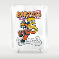simpson Shower Curtains featuring Bartuto: Bart Simpson meets Naruto Uzumaki by logoloco