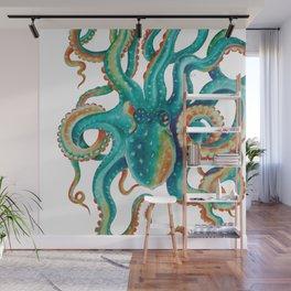 Octopus Tentacles Teal Green Watercolor Art Wall Mural