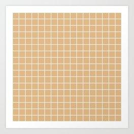 Burlywood - brown color - White Lines Grid Pattern Art Print