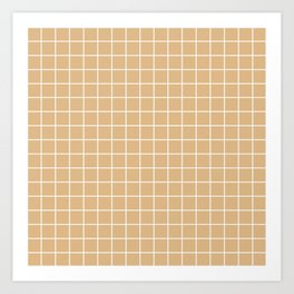 Burlywood - brown color - White Lines Grid Pattern Art Print