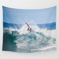 surfer Wall Tapestries featuring Surfer by Carmen Moreno Photography
