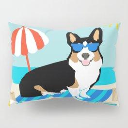 Tri Corgi Sandcastles Summer Beach Day sun corgi art tricolored corgi dog Pillow Sham