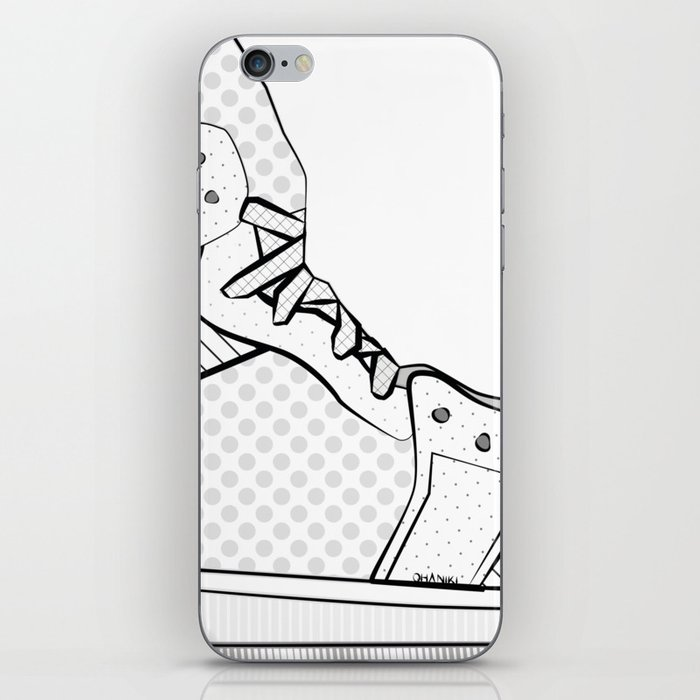 sneaker illustration pop art drawing - black and white graphic iPhone Skin
