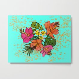 Tropical Floral Design Features Hibiscus and Plumeria on Gold Graphic Background Metal Print