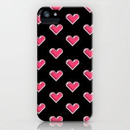 Pixel Hearts Pattern iPhone Case