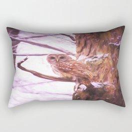 Painted Barred Owl Rectangular Pillow