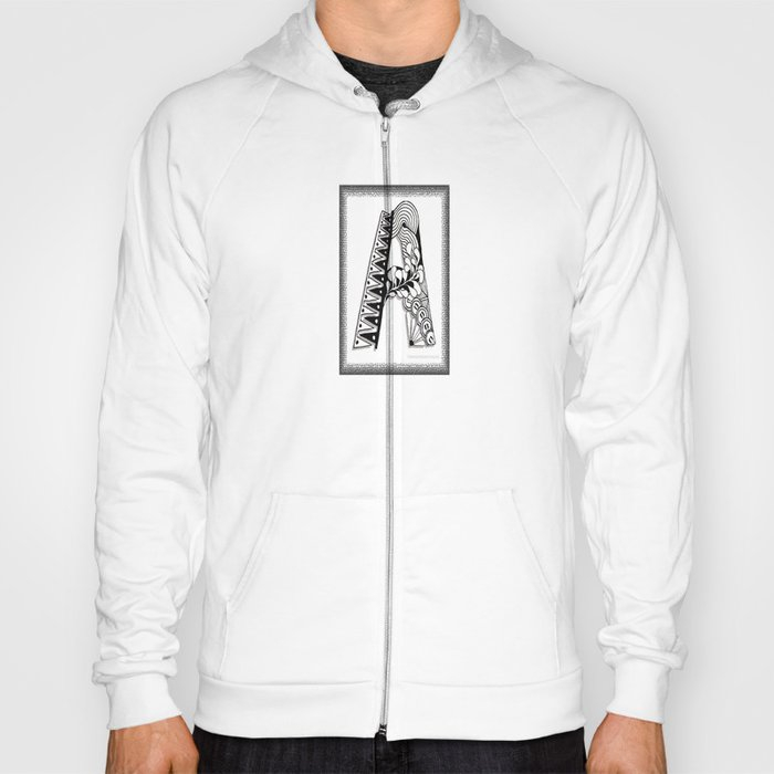 Zentangle A Monogram Alphabet Initials Hoody