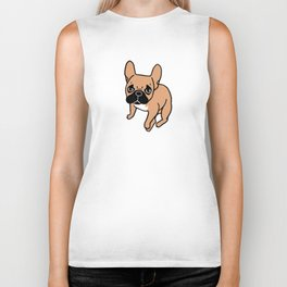 The Cute Black Mask Fawn French Bulldog Needs Some Attention Biker Tank