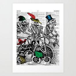 Calavera Cyclists Art Print
