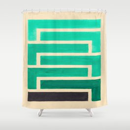 Turquoise Geometric Aztec Pattern Shower Curtain