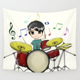 Chibi Drummer Wall Tapestry