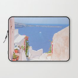 Santorini Greece Mamma Mia pink street travel photography Laptop Sleeve