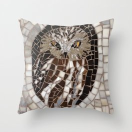 Northern Saw Whet Owl - Stained Glass Mosaic Throw Pillow