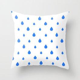 Rain Blue Drops Throw Pillow