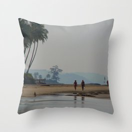 Along the Beach North Goa Throw Pillow